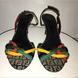 Fendi slingback sandals multi color.